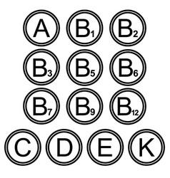vitamins symbols icons signs black and white set 2 vector image