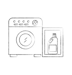 Wash machine with detergent bottle vector