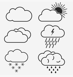 weather line icons symbols of the sun vector image