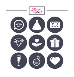 Wedding engagement icons love oath letter vector