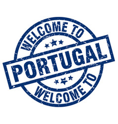Welcome to portugal blue stamp vector