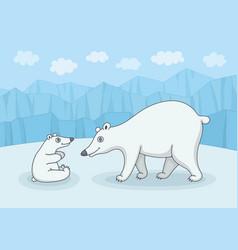 white polar bear with cub vector image