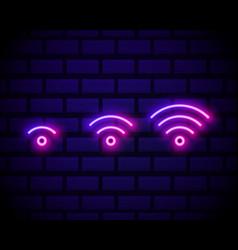 wi-fi neon sign night bright advertisement vector image