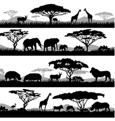 Wild african life background silhouettes vector