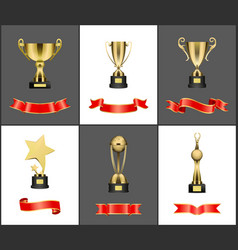 winner or champion golden prizes and awards set vector image