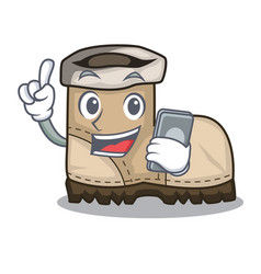 With phone working boots isolated on the mascot vector