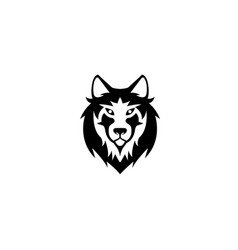 wolf head and face looking in front for logo vector image