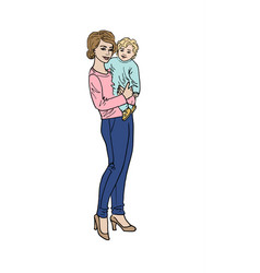 woman and her baby vector image