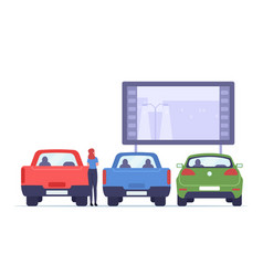 Woman on transportation visit car cinema drive-in vector