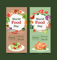 World food day flyer design with roasted chicken vector