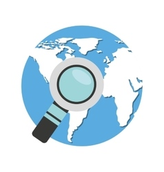 World planet with magnifying glass vector