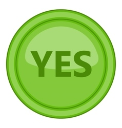 Yes green circle button icon cartoon style vector image