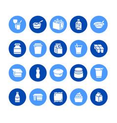 yogurt packaging flat glyph icons dairy vector image