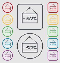 50 discount icon sign symbol on the Round and vector image vector image