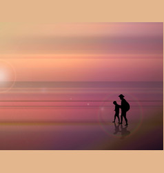 a fabulous sunset on the sea father and son vector image