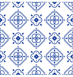 blue and white portugeese mediterranean seamless vector image vector image