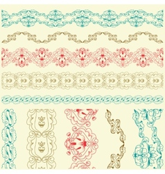 Calligraphic lace brush set vector image vector image