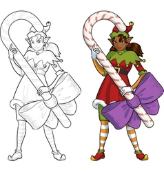 Christmas elf African American girl with Candy vector image vector image