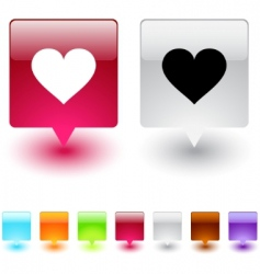 heart square button vector image