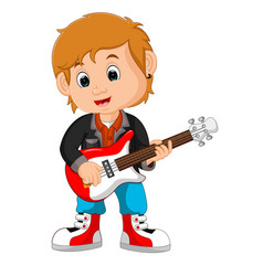 rock star guitar player vector image vector image
