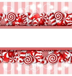Sweet banner with red and white candies vector image vector image