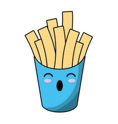 kawaii french fries fast food vector image vector image