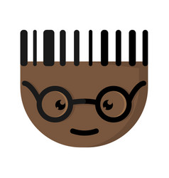 the african cartoon character with glasses vector image