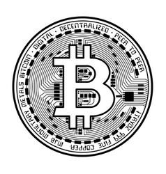 bitcoin coin black silhouette vector image vector image