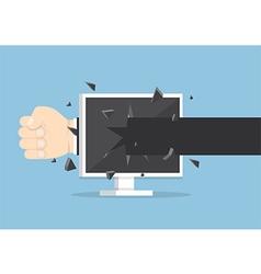 Businessman hand throw a punch through monitor vector