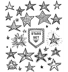 hand drawn stars set vector image