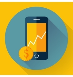 Mobile phone icon with coin vector image