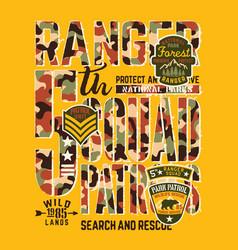 national park forest ranger patrol unit vector image vector image