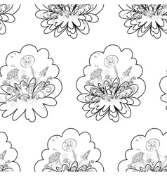 Seamless floral background contours vector image vector image