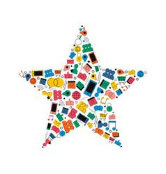 social media network star shape concept icon vector image
