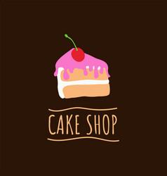 cake shop logo baking and bakery house emblem vector image