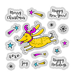 cartoon sticker christmas stickers doodle icons vector image