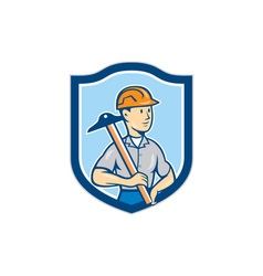 Engineer Architect T-Square Shield Cartoon vector image vector image