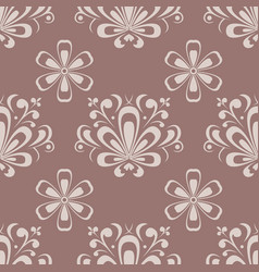 floral seamless pattern brown ornament vector image