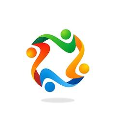 teamwork people diversity logo vector image