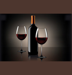 two glasses of wine and bottle over beige vector image