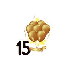 15 year anniversary black gold balloon template vector