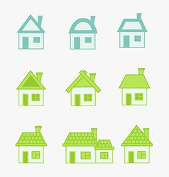 Abstract green and blue icons house vector