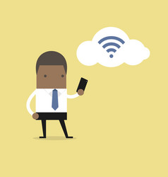 African businessman with smartphone and wifi vector