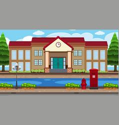 An outdoor scene with school vector