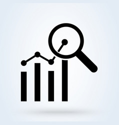 Analytics charts and magnifier icon progress vector