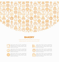 bakery concept with thin line icons vector image