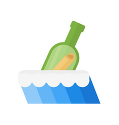 Bottle in sea vector