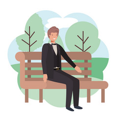 businessman sitting in park chair with landscape vector image