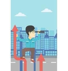 Businessman with spyglass on rising arrow vector