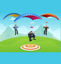 businessmen with a parachute vector image